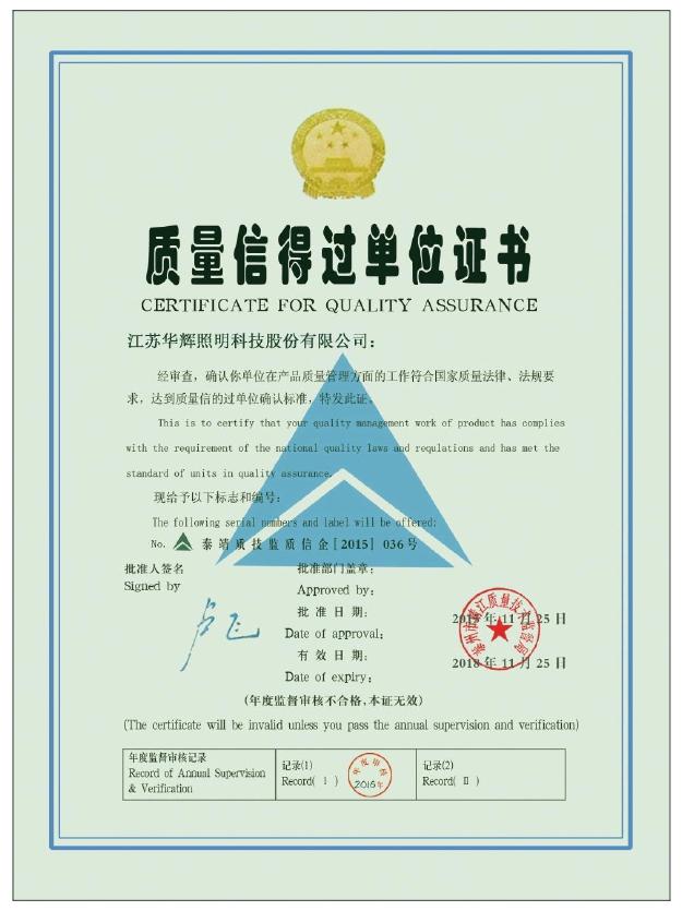 质量信得过单位证书